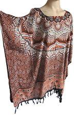 pour femmes brun/beige imprimé franges caftan poncho tunique plage grand taille