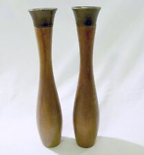 "11.5"" Tall Wood Pepper Mill Salt Shaker Set Vintage Mid Century Modern Japan"