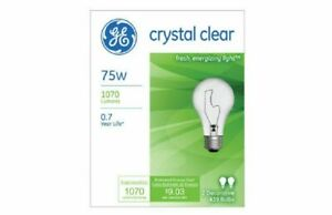 20 Pak GE 97468-20 75-Watt A19 Crystal Clear Light Bulbs Decorative Incandescent