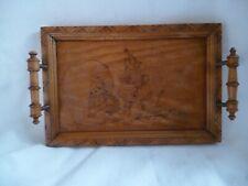 antikes Tablett Holz Brandmalerei Zwerge mit Brei