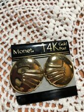 """Embossed Earrings Gold-tone New Old Stock Vintage """"Monet"""" 14K Gold Post Round"""
