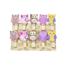 10 Mini Pegs Owl Wooden Craft Pegs Card Holder Photo Hanger Clothes ClipLD