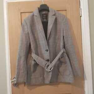 Bershka Womens Blazer Jacket With Belt - Check Design - Beige - Size XS/S