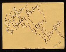 """Werner Klemperer Signed Card Inscribed """"To Jefferson"""" Vintage Autographed 1983"""