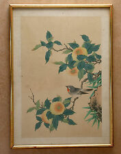 Antique / Vintage Chinese Painting On Woven Silk - French Flea Market Find
