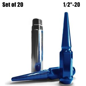 """20 Piece Extended Steel Spike Lug Nuts 4.5"""" Long 1/2""""-20 RHT Blue Finish 5BL5"""