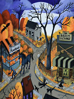 5x7 Art Giclee Print HALLOWEEN TOWN headless horseman illustration black cat DC