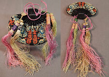 Antique Chinese Silk Forbidden Stitch Embroidery Bats Tassel Small Pouch Purse