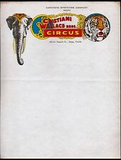 c1950 Circus Christiani Wallace Bros Tampa Florida Sarasota Letter Head