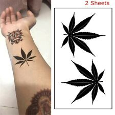 Cover Scars 3D Black Maple Leaf Tattoo Water Transfer Sticker Temporary Decal
