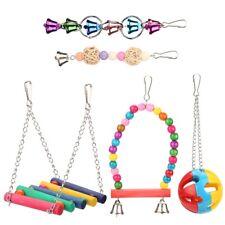 5Pcs/Set Bird Parrot Toys Hanging Bell Pet Cage Hammock Wooden & Metal Swing