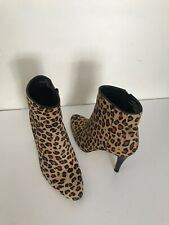 Chicos Calf Hair Animal Leopard Ankle Boots Black Tan Brown Size 8.5 M