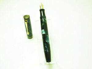 1940´s German MERLIN Blue Flaked Fountain Pen Flexy 14ct F Nib SERVICED EF to B