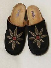 Indigo By Clarks Black Suede Leather Ladies Slides 6M- Excellent Condition
