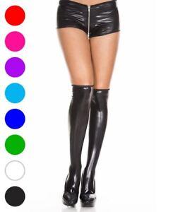 Wet Look Thigh High Stockings - Music Legs 5879