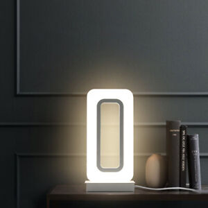 Modern 12W LED Bedside Light Fixture Acrylic Table Lamp On/Off Button Plug Room