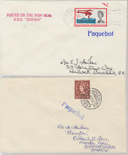 1961-63 Bergen Norway pair of Paquebot covers ~ RMS Caronia & RMS Andes