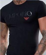 Emporio Armani Black Men's T-Shirt Round Neck,Muscle fit,Size M*L*XL,Glossy logo