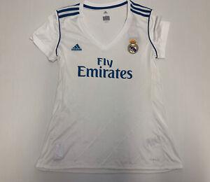 Adidas Women's 2017 Real Madrid White Soccer Jersey Sz L Large football shirt