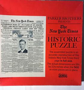 Vintage Lindbergh Flight To Paris NY Times Cover Jigsaw Puzzle Parker Bros MIB