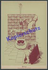orig. Kalenderblatt Franz von Stuck Fasching Karneval Wappen Clown Pierrot 1888