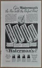 1932 WATERMANS Fountain Pen advertisement, 4 models, pen & pencil sets