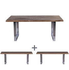 Jangkar reclaimed wooden dining table and benches