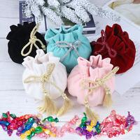 Tassel Velvet Drawstring Bag Jewelry Packaging Pouch Bags Gift Packing Bags  JR