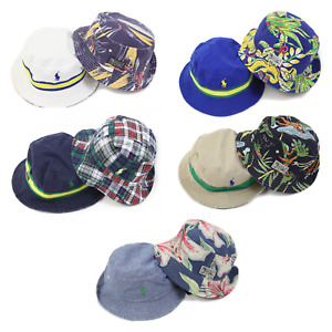 Polo Ralph Lauren Reversible Safari Bucket Hats Caps w/pony floral aloha