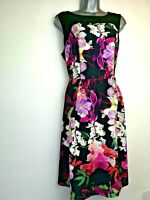 Wallis 14 Black Tropical Sleeveless Fit & Flare crepe Summer party special Dress