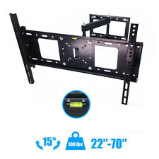 "Articulating Full Motion TV Wall Mount 15°Tilt 180°Swivel For 27""50""55""60""65""70"""