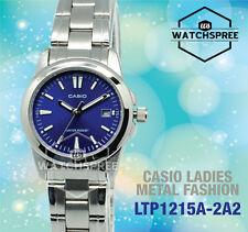 Casio Ladies Blue Dress Date Watch Steel Band Analogue Ltp-1215a-2a2