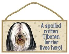 "A Spoiled Rotten Tibetan Terrier lives here! Dog Sign 5""x10"" Wood Plaque NEW 115"