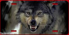 GROWLING WOLF PAINTING  License Plate  Made in USA