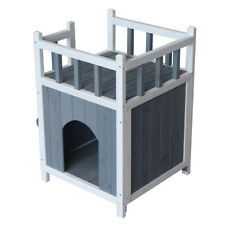 Wooden Cat Pet Home with Balcony Pet House Small Dog Shelter Gray & White