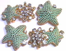 4 - 2 HOLE BEADS TURQUOISE PAINTED CLEAR CRYSTAL STUDDED STARFISH GOLD TONE