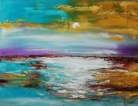 Oil original painting on canvas large size 24x18 inches Sunset