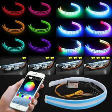 2 RGB 60CM APP LED DRL Slim Flexible Daytime Running Strip Light For Headlight