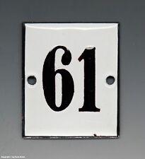 KLEINE...! ALTE EMAIL EMAILLE NUMMER 61 aus HOTEL ? um 1950...6 x 5 cm !!