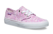 Vans Camden Stripe Trainers Girls Shoes Pumps in Size 4 Pink Spin White Lilac
