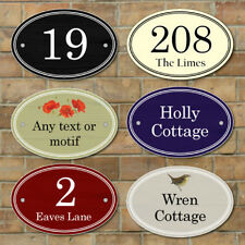 Personalised House Number Sign,Wooden Effect Oval Plaque Fully Weatherproof