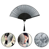 Elegant Chinese Folding Hand Held Fan Silk Plum Flower Bamboo Women Gift
