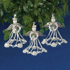 Solid Oak Silver Angels Christmas Tree Decoration x 3  Beaded Crystal Kit