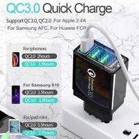 4 Port Fast Quick Charge QC 3.0 USB Hub Wall Charger Power Adapter Plug US/EU