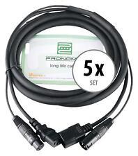 5x Bühne Licht Strom DMX Hybrid Kabel Kombi Beleuchtung Effekt Verlängerung 2,5m