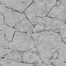 P+S 3D Effect Stone Wall Rock Brick Slate Wallpaper Grey White Black Textured
