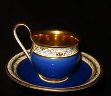 7928:KPM Empire Tasse u.Untertasse,1815-20,Campanerhenkel,Goldfond,blaues Zepter