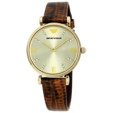 Emporio Armani Champagne Dial Brown Lizard-embossed Leather Womens Watch AR1883