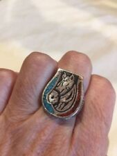 Vintage Horse Shoe Ring Silver White Bronze Men's Inlay Size 9.5