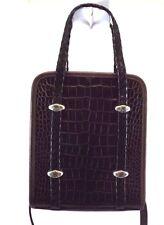 Brighton Handbag, Brown Satchel Crossbody Bag Croco Embossed Leather Purse Small